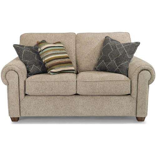 Flexsteel Carson Customizable Love Seat with Rolled Arms