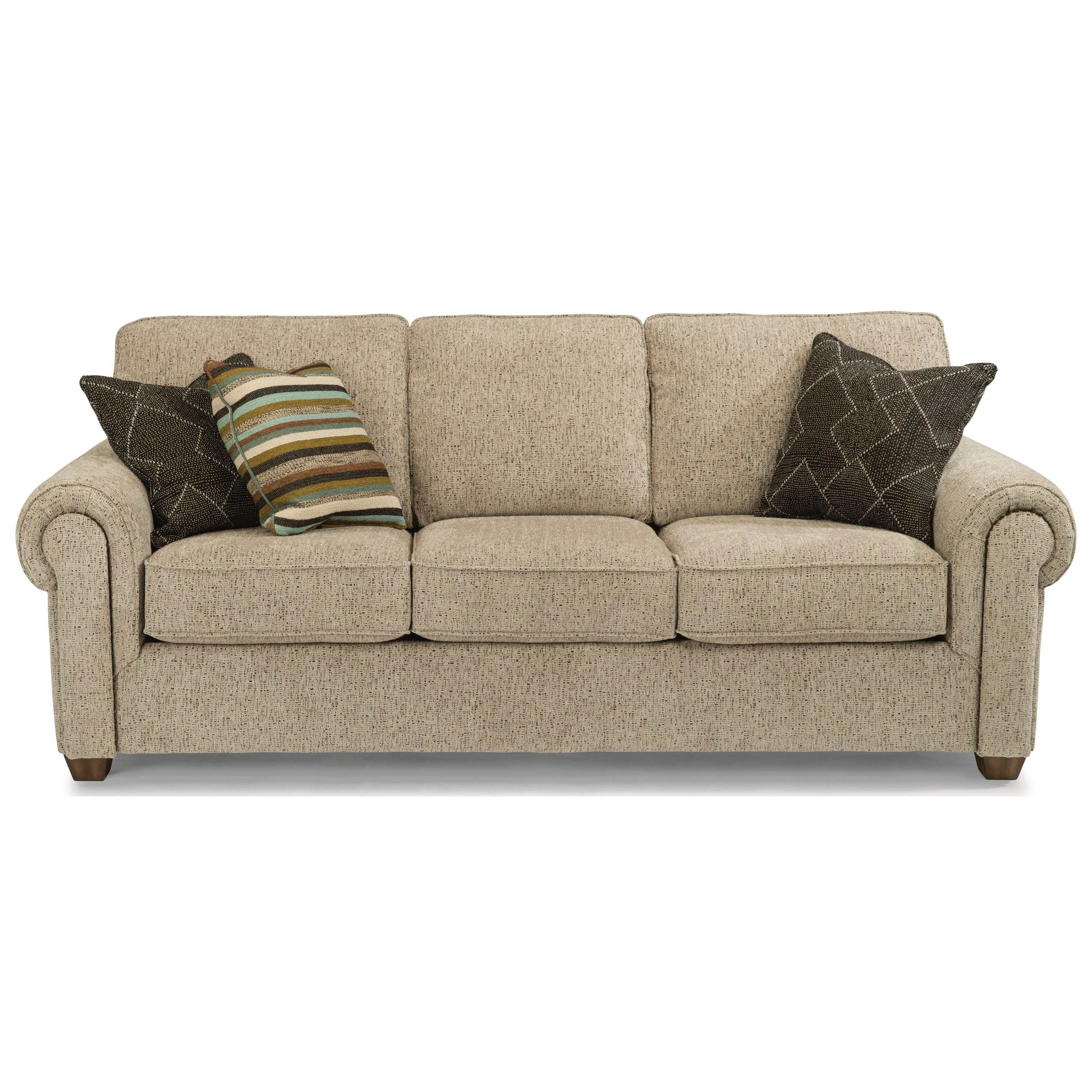 Flexsteel Carson Customizable Sofa With Rolled Arms   John V Schultz  Furniture   Sofas