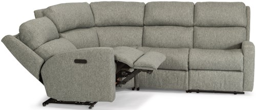 Flexsteel Catalina Four Piece Power Reclining Sectional Sofa with Power Adjustable Headrests and USB Ports