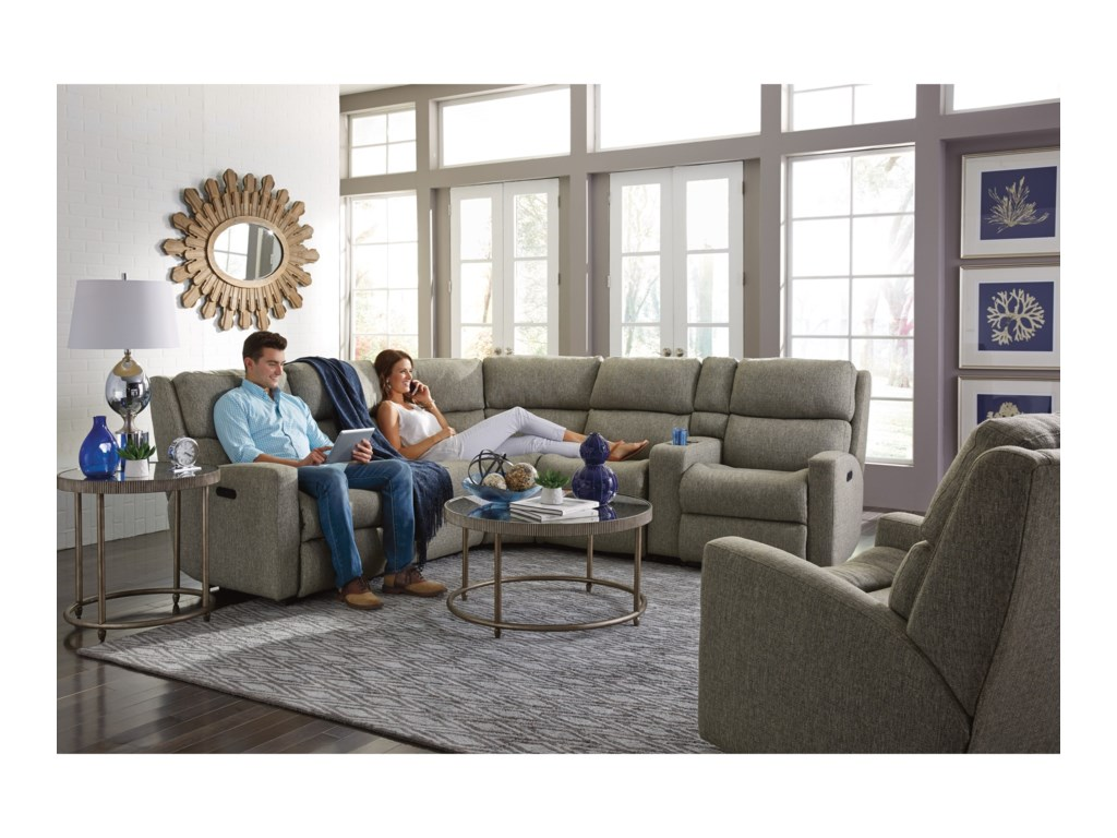 Flexsteel Catalina6 Pc Reclining Sectional w/ Pwr Headrests
