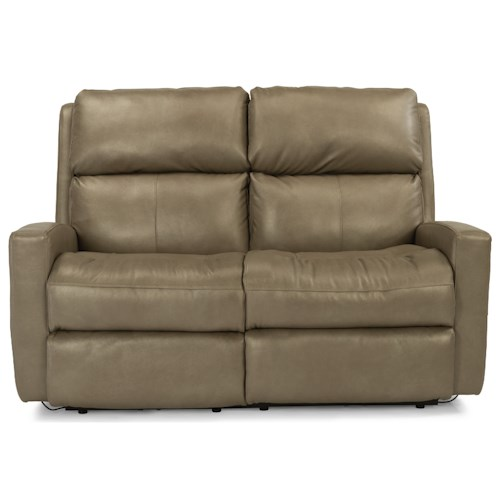 Flexsteel Caravan Contemporary Casual Power Reclining Loveseat with Power Adjustable Headrests and USB Ports