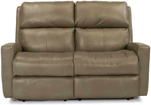 Flexsteel Catalina Contemporary Casual Power Reclining Loveseat with Power Adjustable Headrests and USB Ports