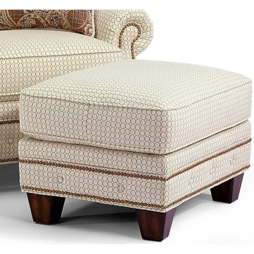 Flexsteel Champion Transitional Ottoman with Button-Tufts and Nailhead Trim