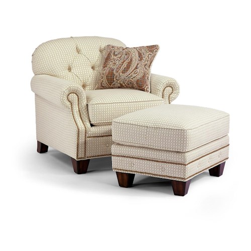 Flexsteel Champion Transitional Button-Tufted Chair and Ottoman Set