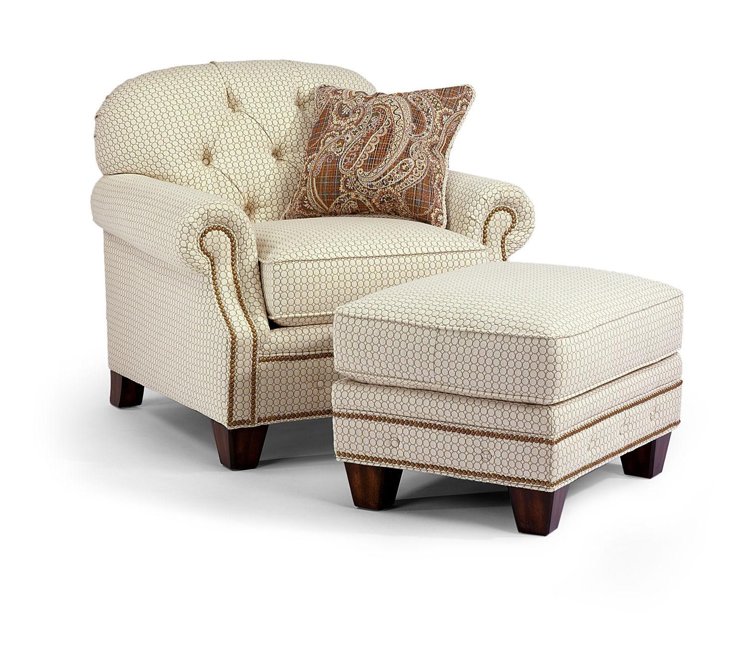 Flexsteel Champion Transitional Button Tufted Chair And Ottoman Set