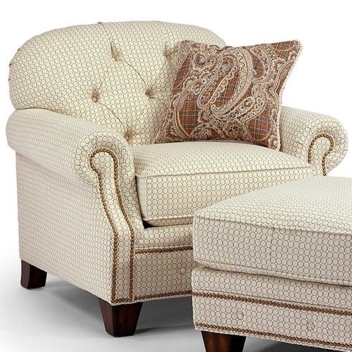 Flexsteel Champion Transitinal Button-Tufted Chair with Rolled Arms and Nailheads