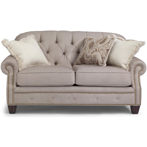 Flexsteel Champion Transitional Button-Tufted Loveseat with Rolled Arms and Nailheads