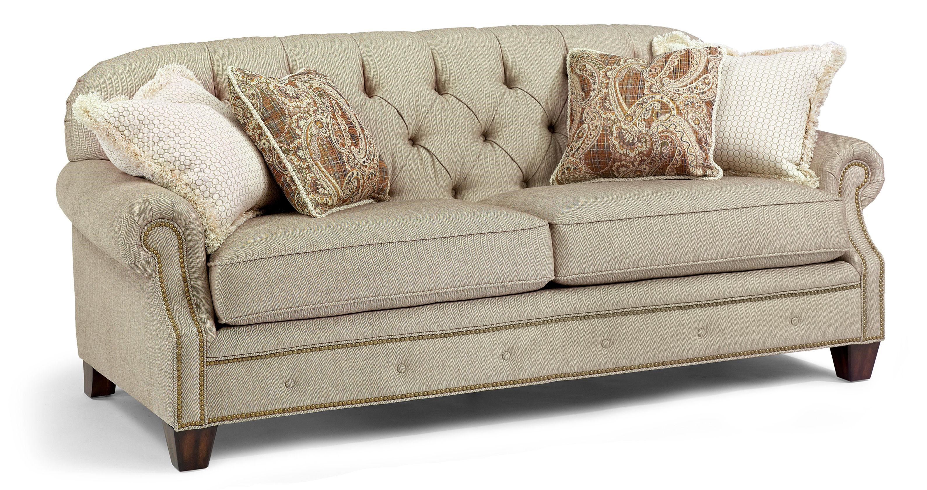 flexsteel champion sofa with rolled arms and nailheads