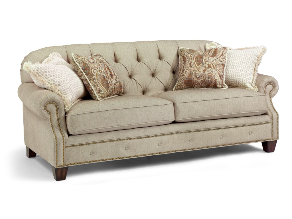 Flexsteel Champion Transitional On Tufted Sofa With Rolled Arms And Nailheads Olinde S Furniture Sofas