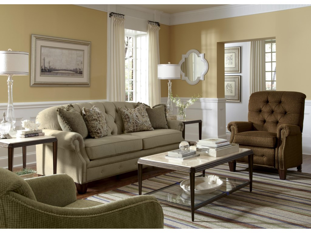 Flexsteel Champion Transitional Button-Tufted Sofa with Rolled Arms ...
