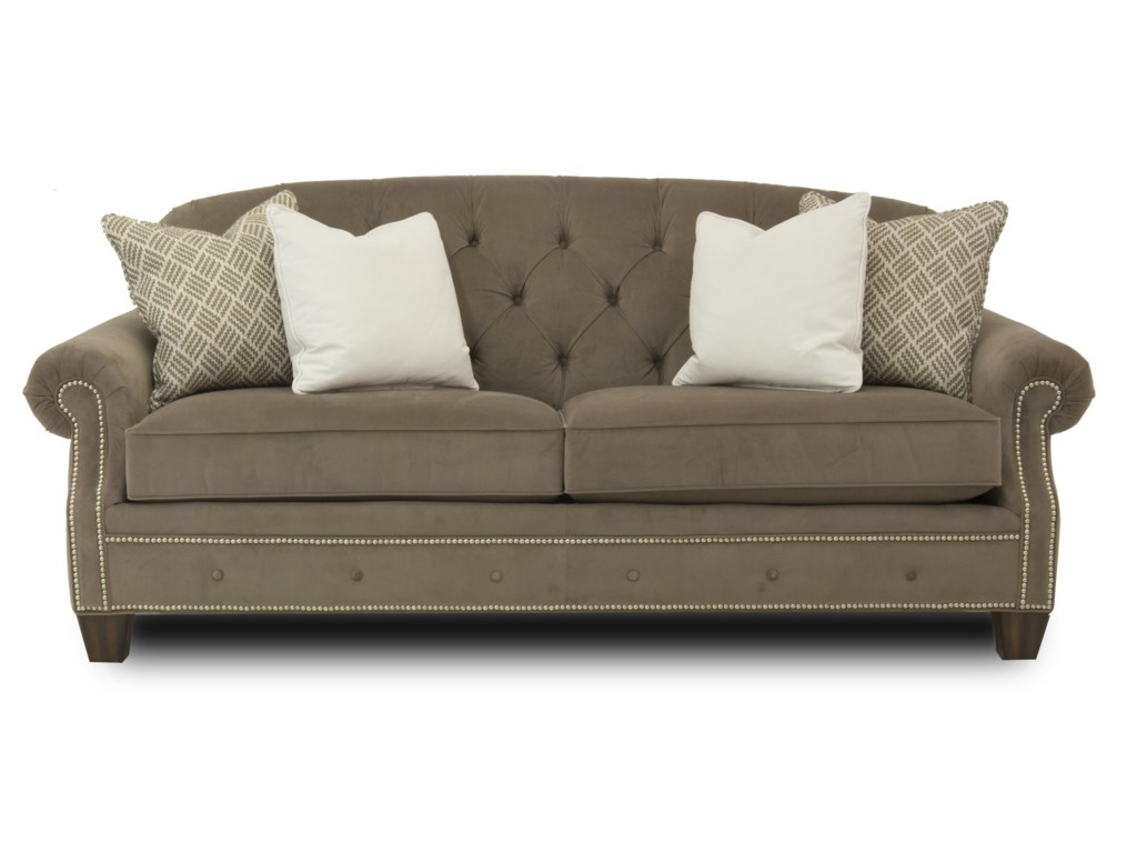 Champion Transitional On Tufted Sofa With Rolled Arms And Nailheads By Flexsteel At Ruby Gordon Home