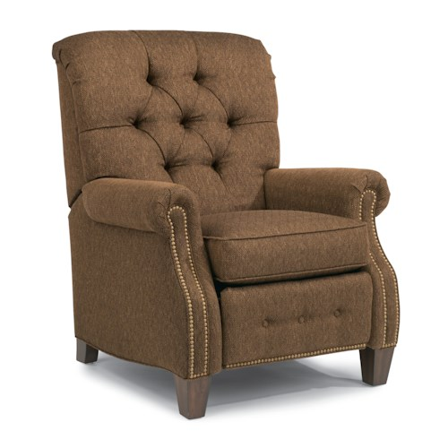 Flexsteel Champion Transitional Button-Tufted High Leg Recliner with Power