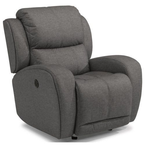 Flexsteel Chaz Contemporary Power Gliding Recliner with USB Port