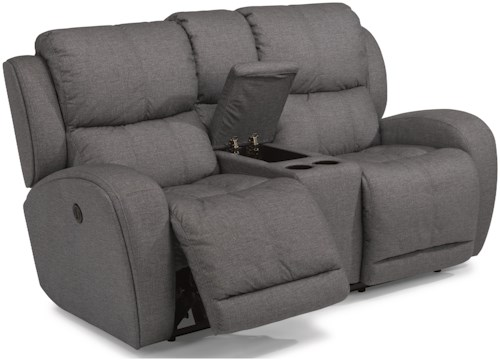 Flexsteel Chaz Contemporary Power Reclining Love Seat with Storage Console and USB Ports