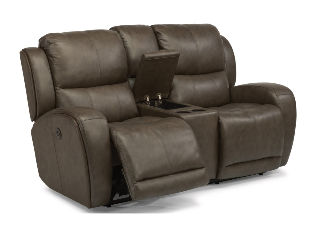 Flexsteel Latitudes - ChazPower Reclining Love Seat with Console