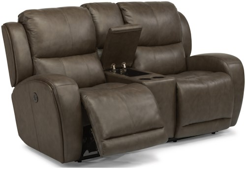 Flexsteel Latitudes - Chaz Contemporary Power Reclining Love Seat with Storage Console and USB Ports