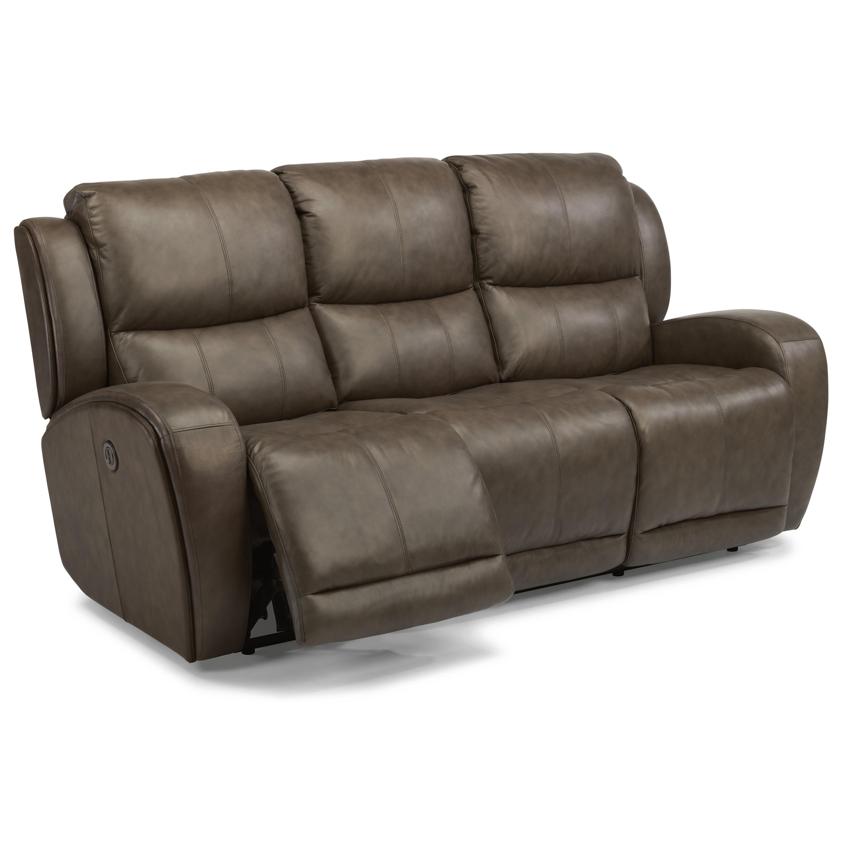 Flexsteel Chaz Contemporary Power Reclining Sofa With USB Ports