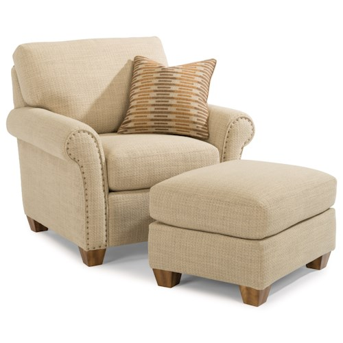 Flexsteel Christine Rolled Arm Chair and Ottoman Set with Nailhead Studs