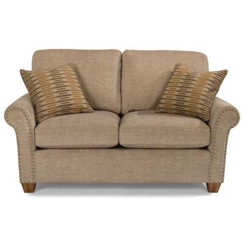 Flexsteel Christine Rolled Arm Loveseat with Nailhead Studs