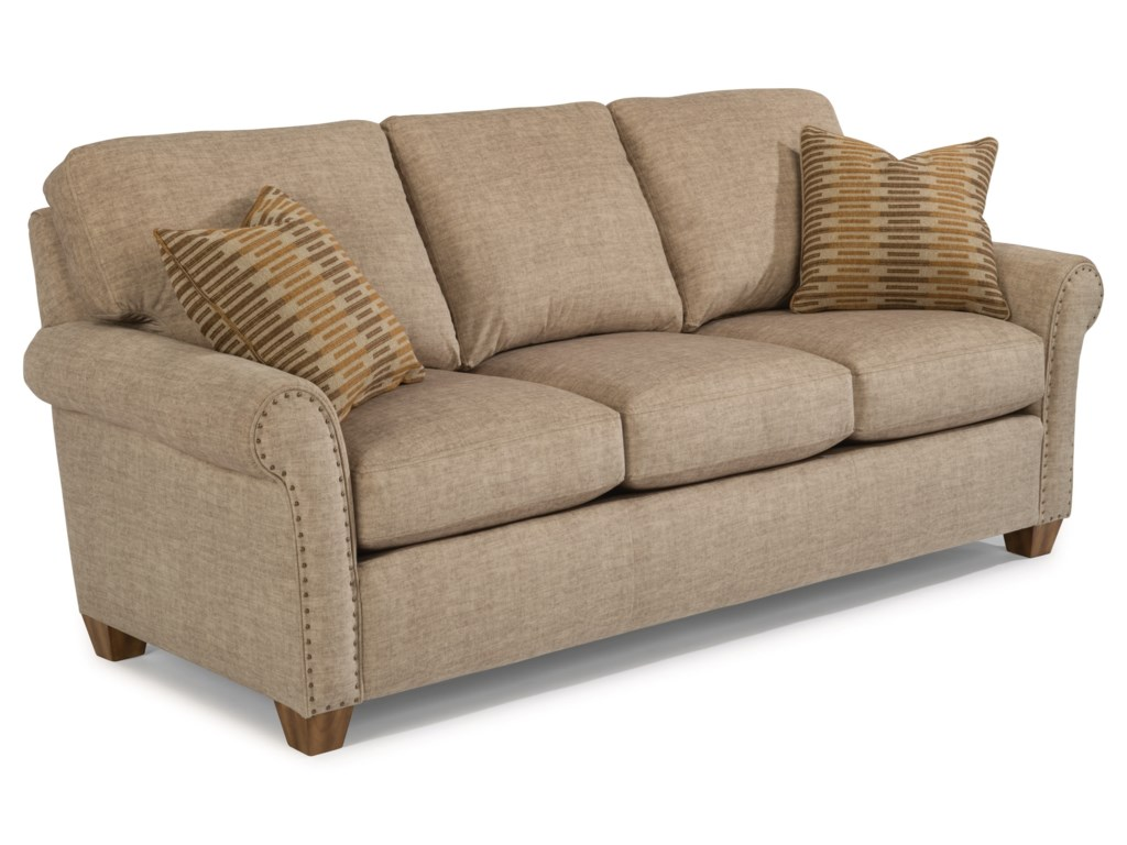 Christine Rolled Arm Sofa With Nailhead Studs By Flexsteel