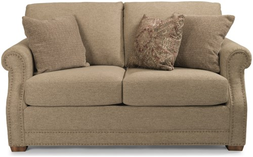 Flexsteel Coburn Transitional Love Seat with Rolled Arms