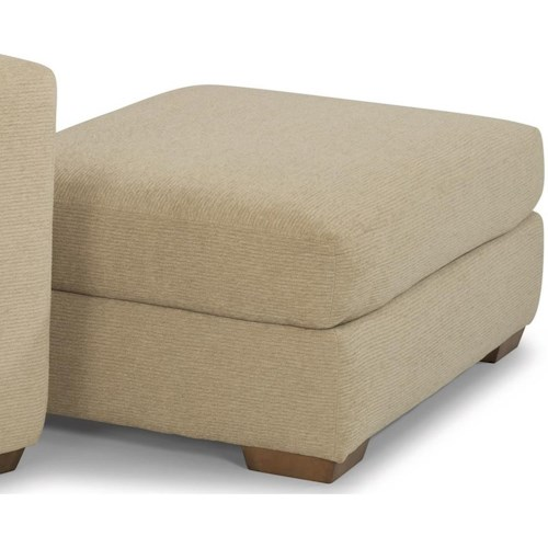 Flexsteel Collins Casual Ottoman with Tapered Block Feet