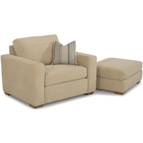 Flexsteel Collins Casual Chair and Ottoman with Tapered Block Feet