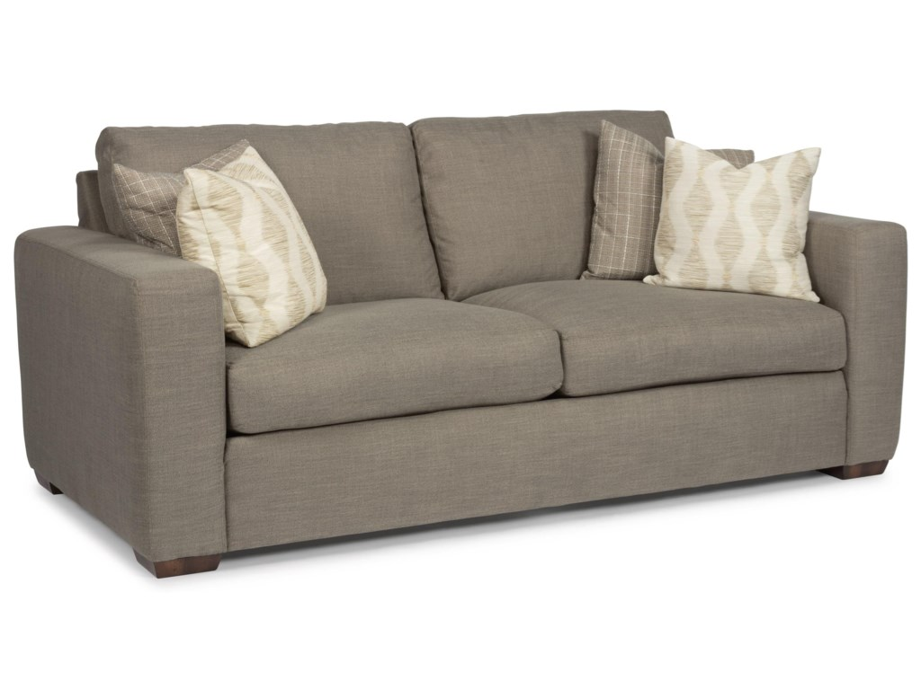 Flexsteel Collins Casual Two Cushion Sofa With Wide Track