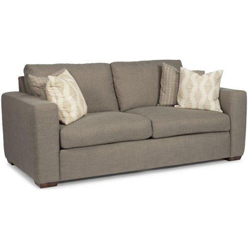 Flexsteel Collins Casual Two-Cushion Sofa with Wide Track Arms