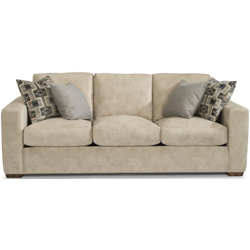 Flexsteel Collins Casual Three-Cushion Sofa with Wide Track Arms