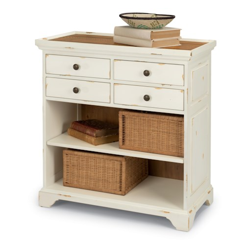 Flexsteel Cottage Grove Cottage Hall Chest with Four Drawers and Rough-Sawn Plank Table Top