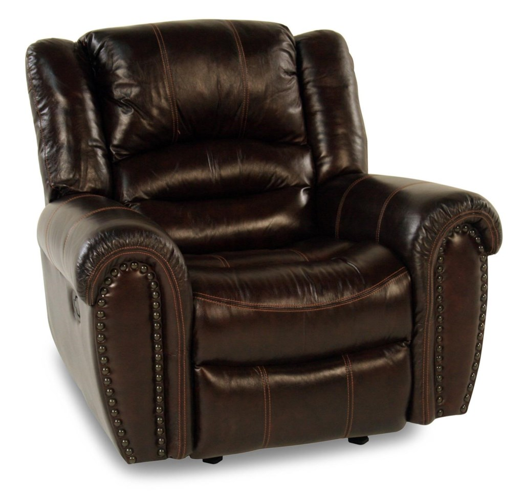 Flexsteel Lancer Leather Glider Recliner W Nailhead Trim Rotmans