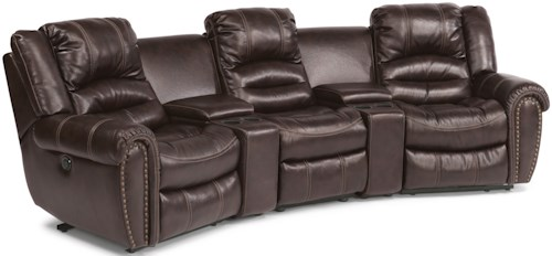 Flexsteel Crosstown Five Piece Power Reclining Home Theater Group with Two Cupholder Consoles