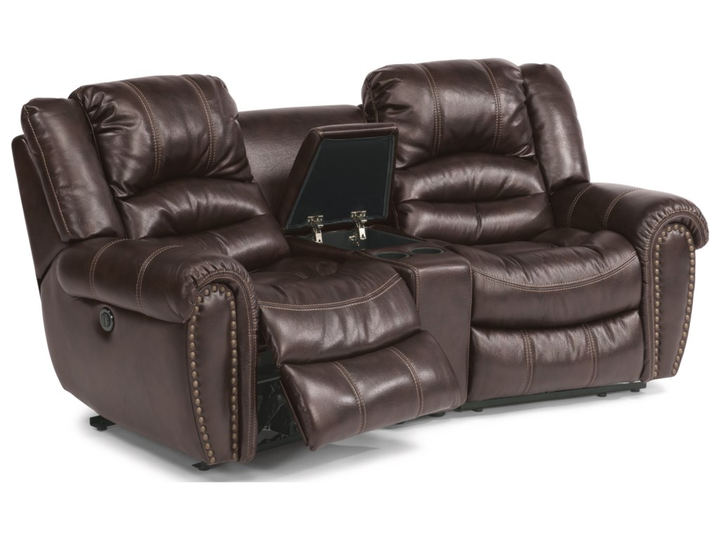 Crosstown Three Piece Reclining Sectional Sofa With Console By Flexsteel At Furniture And Liancemart