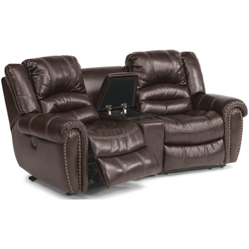 Flexsteel Crosstown Three Piece Power Reclining Sectional Sofa with Console