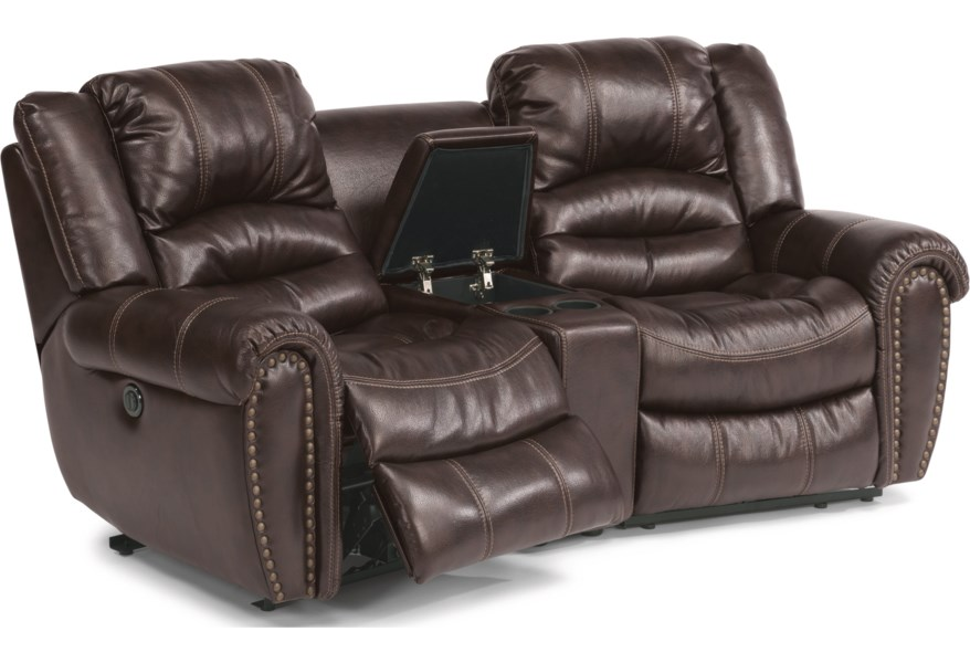 Crosstown Three Piece Power Reclining Sectional Sofa with Console by  Flexsteel at Furniture and ApplianceMart