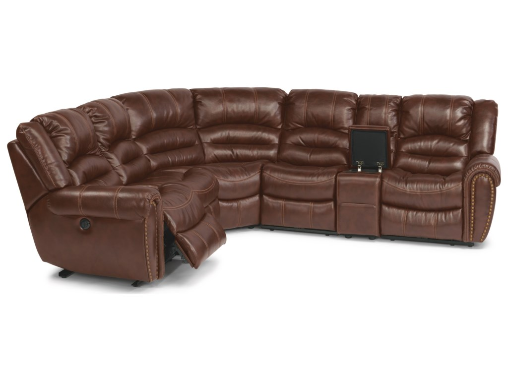 Flexsteel Crosstown Six Piece Power Reclining Sectional Sofa