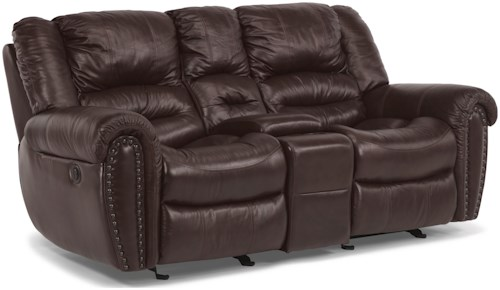 Flexsteel Crosstown Power Reclining Loveseat with Console and Pillow Arms