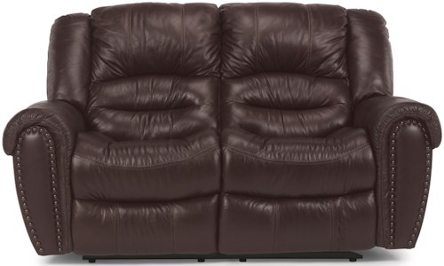 Flexsteel Crosstown Power Reclining Love Seat with Power Headrest and USB Port