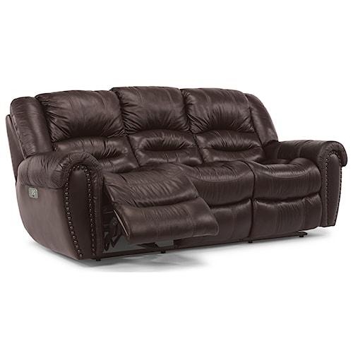 Flexsteel Crosstown Power Reclining Sofa with Power Headrests and USB Port