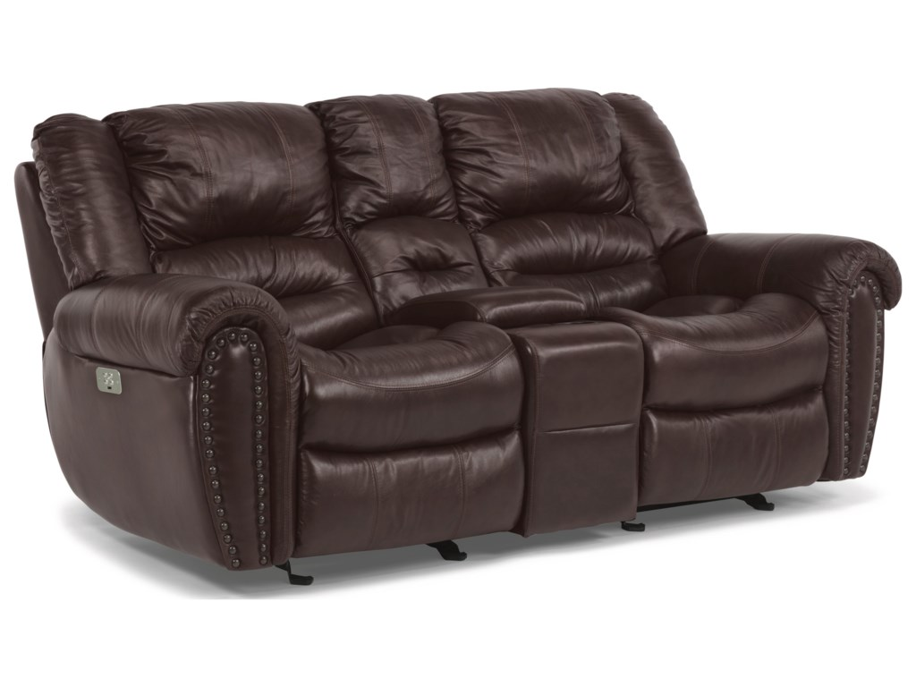 Flexsteel CrosstownPower Reclining Console Love Seat