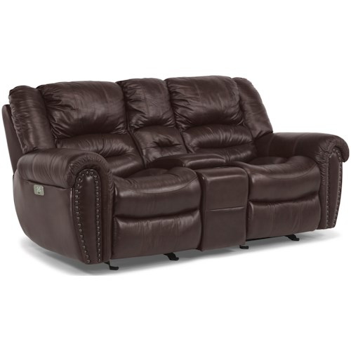 Flexsteel Crosstown Power Reclining Love Seat with Console and Pillow Arms