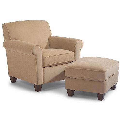 Flexsteel Dana Upholstered Chair and Ottoman