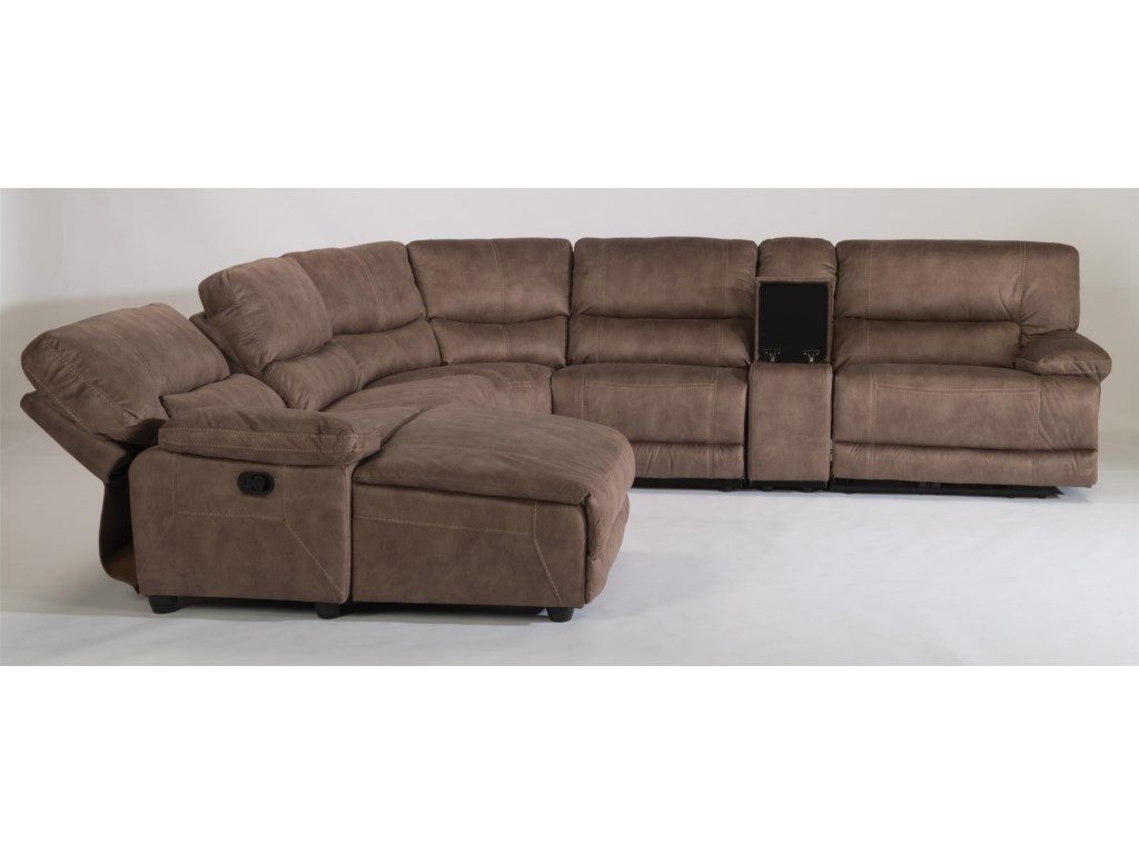Flexsteel Pasadena6 Pc Reclining Sectional Sofa w/ LAF Chaise