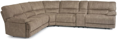 Flexsteel Latitudes - Delia Reclining Sectional Sofa with Plush Pillow Arms