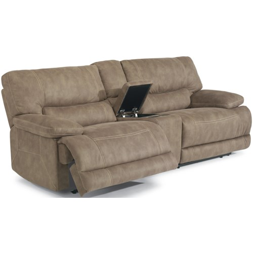 Flexsteel Latitudes - Delia Power Reclining Sectional Sofa with Middle Arm Console