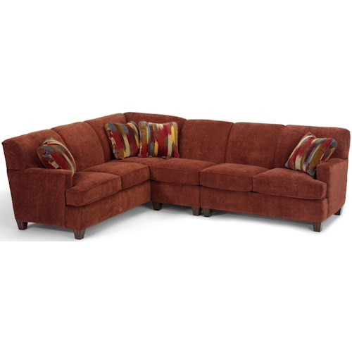 Flexsteel Dempsey Contemporary 3 Piece Sectional Sofa with RAF Loveseat