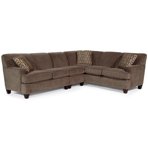 Flexsteel Dempsey Contemporary 3 Piece Sectional Sofa with LAF Loveseat