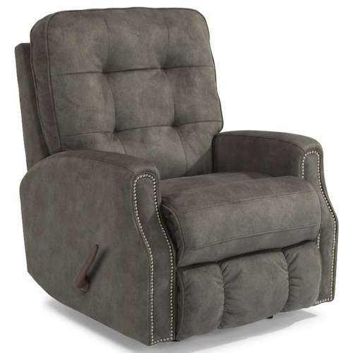 Flexsteel Devon Button Tufted Swivel Glider Recliner with Nailheads
