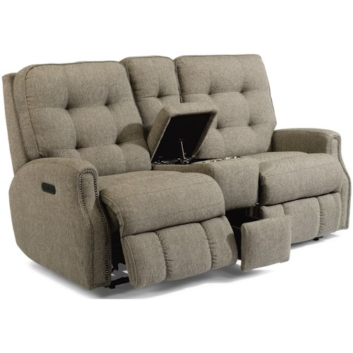 Flexsteel Devon Button Tufted Power Reclining Loveseat with Power Headrest and USB Port